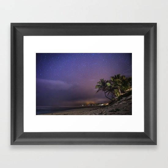 HAWAII - NorthShore night Sky - Stars and beach Framed Art Print