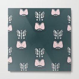 Maori Tiki Mask Pattern Metal Print