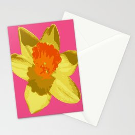 Spring Daffodil Isolated On Hot Pink Stationery Cards