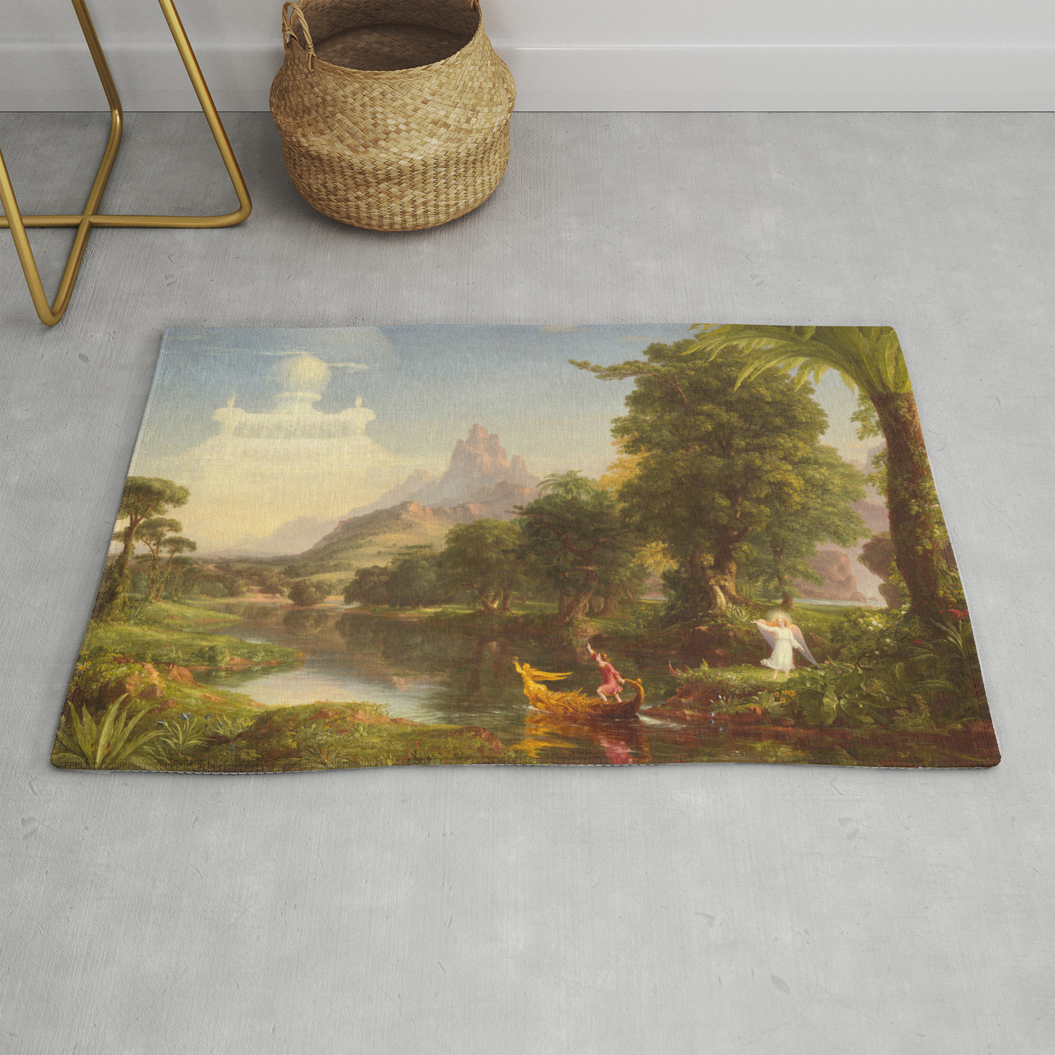 Life Youth Painting By Thomas Cole Rug