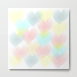 Pastel Hearts Doodle Art Metal Print