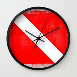 Diver Down Distressed Halftone Denim Flag Wall Clock