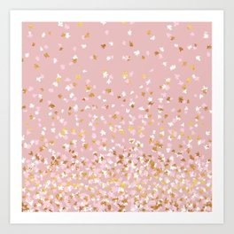 Floating Confetti - Pink Blush and Gold Art Print