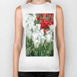 Group of White and Red Tulips Biker Tank