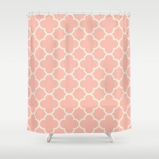 MOROCCAN {CORAL & OFF WHITE } Shower Curtain