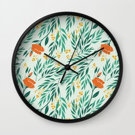 Tropical Flower and Leaves Pattern Wall Clock