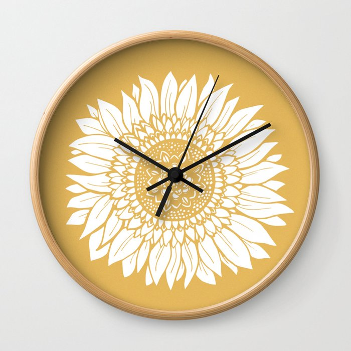 Yellow Sunflower Drawing Wall Clock