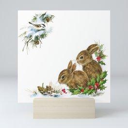 Winter in the forest - Animal Bunny Illustration Mini Art Print