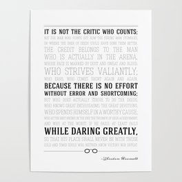 Man in the Arena Teddy Roosevelt Quote Poster