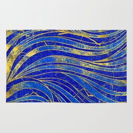 Lapis Lazuli and gold vaves pattern Rug