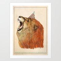 lion Art Prints featuring Birthday Lion by Sandra Dieckmann