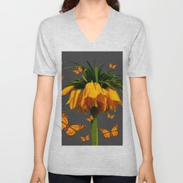 GREY ART  YELLOW MONARCH BUTTERFLIES YELLOW CROWN IMPE Unisex V-Neck