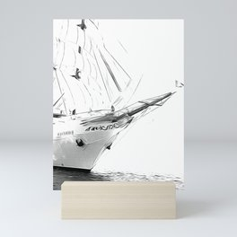 Black and White Sailboat Mini Art Print