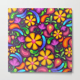 Brightly Colored Yellow Floral Pattern Metal Print