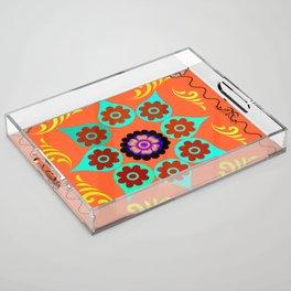 Talavera Tile Orange Acrylic Tray