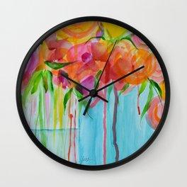 Running Roses Wall Clock