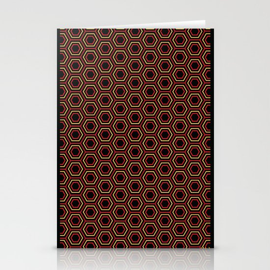 Hexagon Pattern in Red Stationery Cards