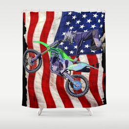 High Flying Freestyle Motocross Rider & US Flag Shower Curtain