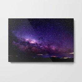 Purple Blue Milky Way Landscape Metal Print