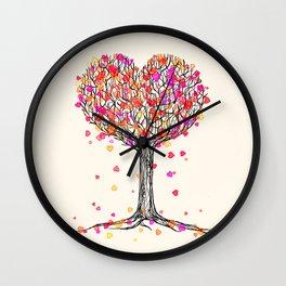 Love in the Fall - Heart Tree Illustration Wall Clock