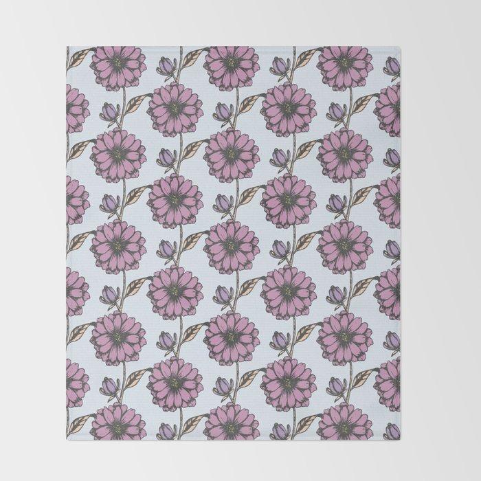 Graphic purple daisy flower pattern Throw Blanket