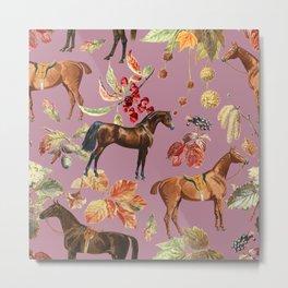 HORSES & AUTUMN LEAVES - Dusty Plum  Metal Print