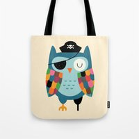 captain Tote Bags featuring Captain Whooo by Andy Westface