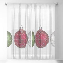 Green, Red, Silver Christmas Ornaments Minimalist Art Sheer Curtain