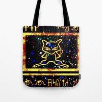 mew Tote Bags featuring ancient mew by HiddenStash Art