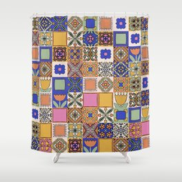 Hand Drawn Floral Patchwork Shower Curtain