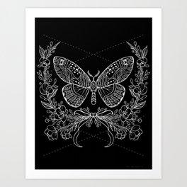 Moth Floral Art Print