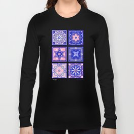 Talavera Mexican Tile – Pink & Periwinkle Palette Long Sleeve T-shirt