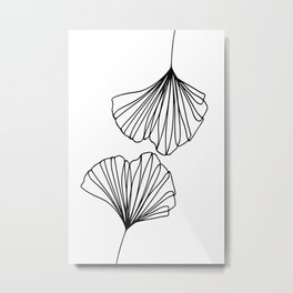 Ginkgo Leaves 01 Minimal Line Art Metal Print