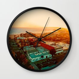 Santa Monica beach evening light Wall Clock