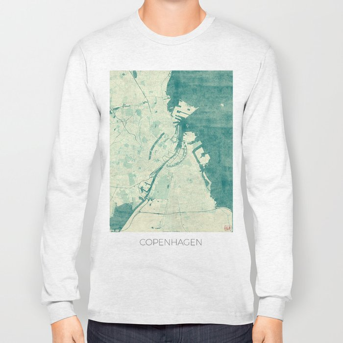 Copenhagen Map Blue Vintage Long Sleeve T-shirt