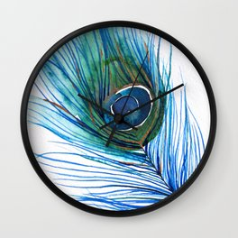 Peacock Feather I Wall Clock
