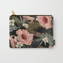 Vintage Floral & Ferns Dark Tropical Forest  Carry-All Pouch