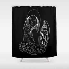 Crying Angel with Cross Shower Curtain