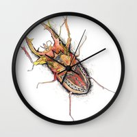 beetle Wall Clocks featuring Beetle by Cherry Virginia