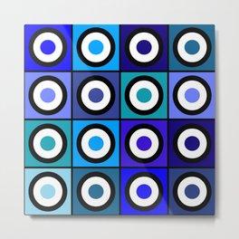 Retro Blue Circles Metal Print