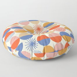 Vintage abstract colorful geometry circles hand drawn illustration pattern. Cute colored blocks shapes on white background. Floor Pillow