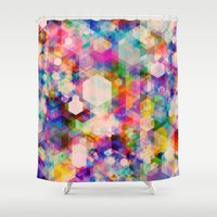 stickers Shower Curtains featuring Bitmap by Simon C Page