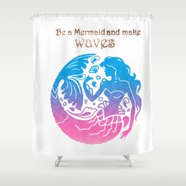 Mermaid silhouette quoted stylish silhouette Shower Curtain