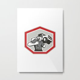 Automotive Mechanic Carrying Pick-Up Truck Metal Print