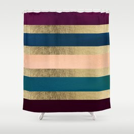 Geometrical coral navy blue burgundy gold watercolor Shower Curtain