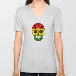 Sugar Skull with Roses and Flag of Bolivia Unisex V-Neck