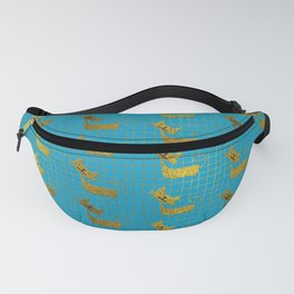 Cute whimsical Gold Cat Pattern On teal Fanny Pack