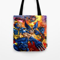 x men Tote Bags featuring X - MEN by Vincent Trinidad