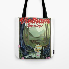 Vietnam Jungle Cave cartoon travel poster Tote Bag