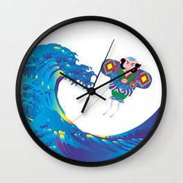 Hokusai Rainbow & Jpanese Yakko kite  Wall Clock